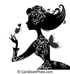 gyönyörű, elegáns, nő, árnykép