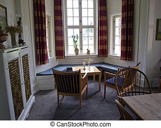 gyönyörű, eleven, ablak, szoba, klasszikus