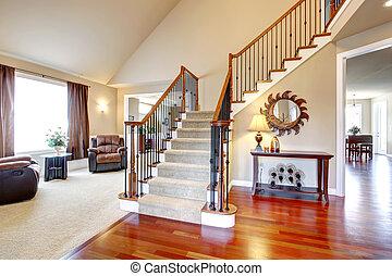 gyönyörű, erdő, korlátok, vas, lépcsőház