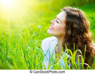 gyönyörű, eredet, kisasszony, szabadban, élvez, természet