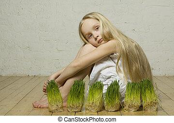 gyönyörű, eredet, leány, fű