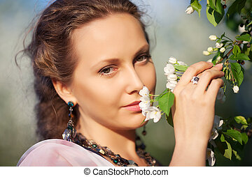 gyönyörű, eredet, nő, kert