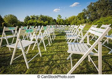 gyönyörű, esküvő ünnepély, a parkban