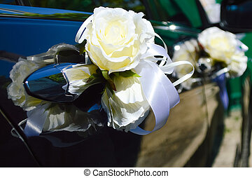 gyönyörű, esküvő, autó, dekoráció