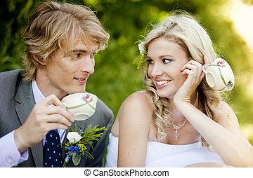 gyönyörű, esküvő párosít