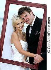 gyönyörű, esküvő párosít, noha, keret
