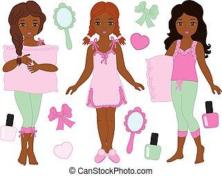 gyönyörű, fárasztó, állhatatos, pizsama, lány, fiatal, amerikai, vektor, afrikai