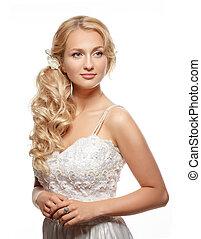 gyönyörű, fárasztó, nő, hosszú, pazar, haj, esküvő öltözködik