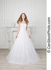 gyönyörű, fárasztó, nő, karcsú, hosszú, pazar, haj, esküvő öltözködik
