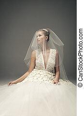 gyönyörű, fárasztó, nő, karcsú, pazar, menyasszony, dress., esküvő