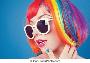 gyönyörű, fárasztó, nő, színes, paróka