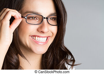 gyönyörű, fárasztó, nő, szemüveg