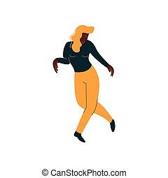 gyönyörű, fárasztó, tánc, táncos, öltözék, betű, ábra, amerikai, vektor, női african, leány, kényelmes