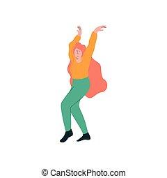 gyönyörű, fárasztó, woman táncol, táncos, öltözék, betű, fiatal, ábra, vektor, női, kényelmes