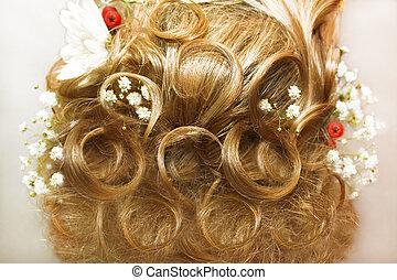 gyönyörű, fény, frizura, .
