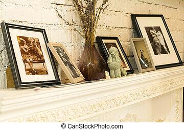 gyönyörű, fénykép, mód, fireplace., öreg