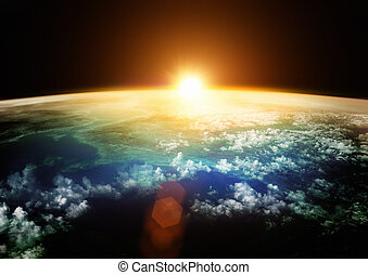 gyönyörű, földdel feltölt, horizont, -