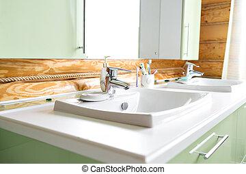 gyönyörű, fürdőszoba, fahasáb, épület, sóvárog, falusias, interior., fülke, hegy., állomást bemér