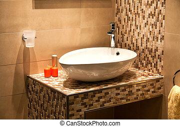 gyönyörű, fürdőszoba, modern, fényűzés, új családi