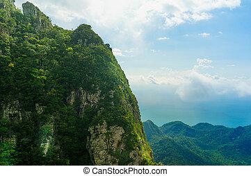 gyönyörű, fa, befedett, hegyek, alatt, langkawi, noha, köd, gördülő