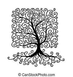gyönyörű, fa, tervezés, művészet, -e