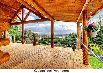 gyönyörű, fahasáb, épület, porch., fülke, kilátás