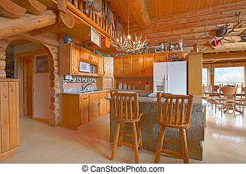 gyönyörű, falusias, fahasáb faház, konyha