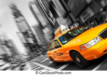 gyönyörű, fekete-fehér, új york város, időmegállapítás derékszögben, sárga taxi, indítvány, blur., minden, jel, és, trademarks, vannak, életlen, out.
