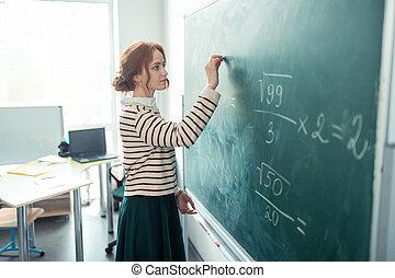 gyönyörű, feladat, blackboard., tanár, írás