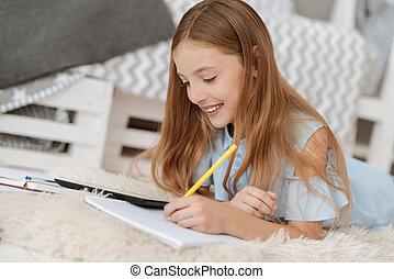 gyönyörű, feladat, neki, copybook, írás, leány