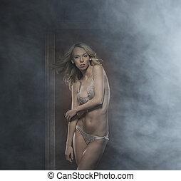 gyönyörű, felett, sztriptíz, táncos, háttér, szexi, füstös