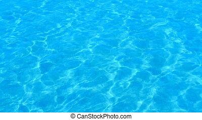 gyönyörű, felfrissítő, kék, uszoda