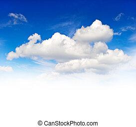 gyönyörű, felhős, kék ég, háttér
