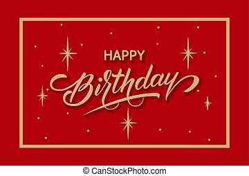gyönyörű, felirat, vektor, gratuláció, card., greeting., csillagos, keret, kártya, évforduló, születésnap, typography., finom, háttér, művészi, minimalistic, háttérfüggöny, boldog