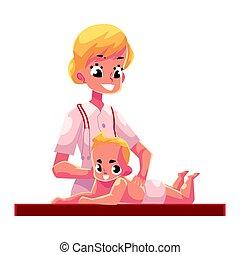 gyönyörű, fiatal, ábra, masszázs, vektor, gyógyász, csecsemő, karikatúra