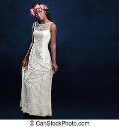gyönyörű, fiatal, afrikai, menyasszony, alatt, white esküvő, dress.