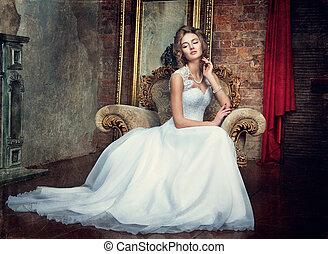 gyönyörű, fiatal lány, alatt, egy, esküvő öltözködik