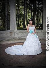 gyönyörű, fiatal, menyasszony, (1)
