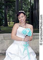 gyönyörű, fiatal, menyasszony, (2)