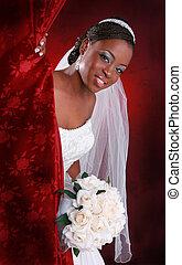 gyönyörű, fiatal, menyasszony, portré
