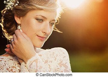 gyönyörű, fiatal, menyasszony