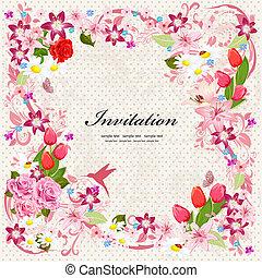 gyönyörű, floral tervezés, meghívás, kártya