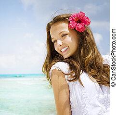 gyönyörű, fogalom, utazás, resort., szünidő, tropikus, leány