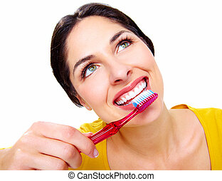 gyönyörű, fogkefe, nő