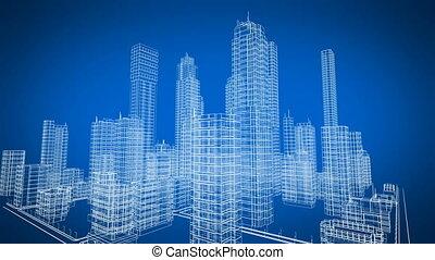 gyönyörű, forgó, tervrajz, közül, kortárs, felnövés, épület., szerkesztés, és, technológia, concept., kék, szín, 3, animation., 4k, uhd, 3840x2160.
