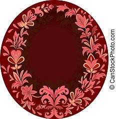 gyönyörű, frame., függőleges, bíbor, virágos, ovális