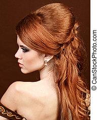 gyönyörű, frizura, nő, beauty., hosszú szőr, hair., buja