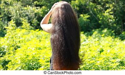 gyönyörű, frizura, nő, outdoor., fiatal, hosszú szőr
