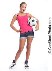 gyönyörű, futball játékos, tízenéves lány, noha, labda