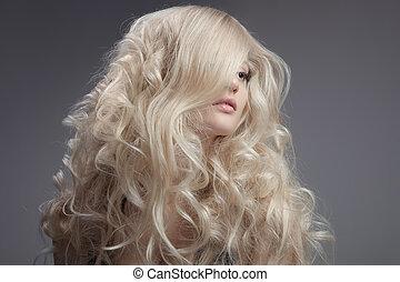 gyönyörű, göndör, hosszú szőr, szőke, woman.